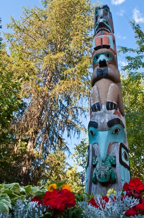 different animals carved in wood in a traditional totem pole