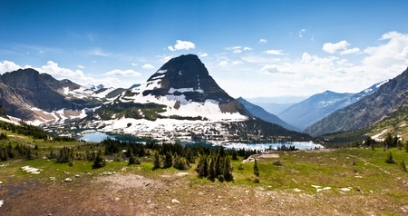 liesure: Wide angle view of hidden lake in Glacier national park Montana