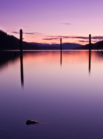 Coeur d alene lake in idaho sunset from mineral ridge Stock Photo