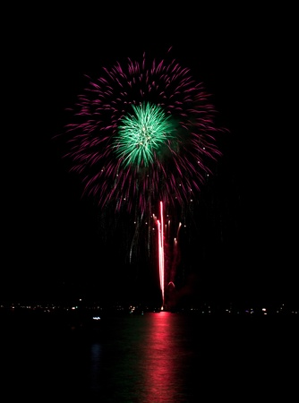 independance: Beautiful white explosion of fireworks in idaho for july forth Stock Photo