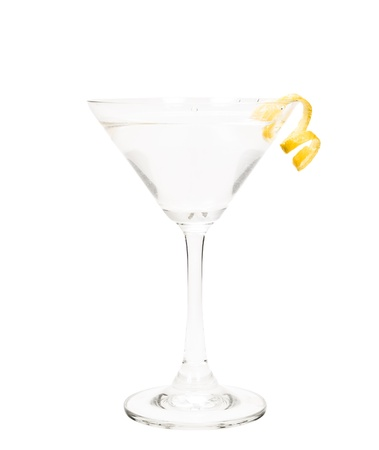 twist: isolated martini on a white background garnished with a lemon twist