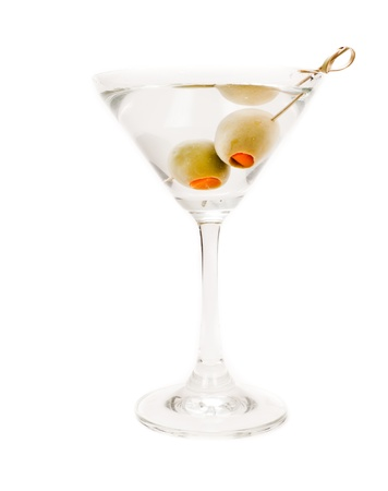 isolated martini on a white background garnished with olives photo