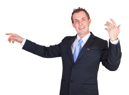 proffesional: Business man helping and giving directions isolated on a white background