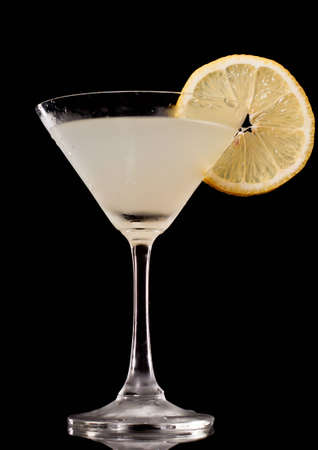 lemon drop martini isolated on a black background, view from the bottom up Stock Photo - 12499412