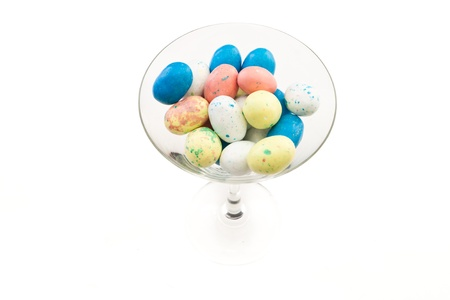 easter eggs in a martini glass isolated on a white background Stock Photo - 12751820