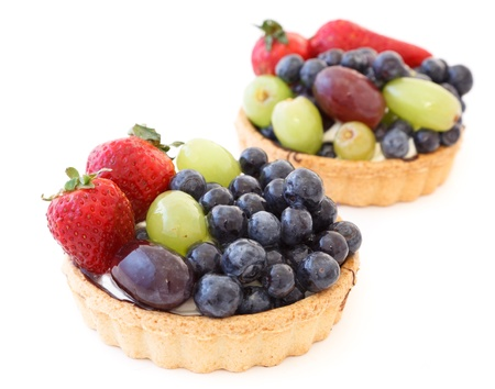 flavorful: Fresh fruit tart isolated on a white background Stock Photo