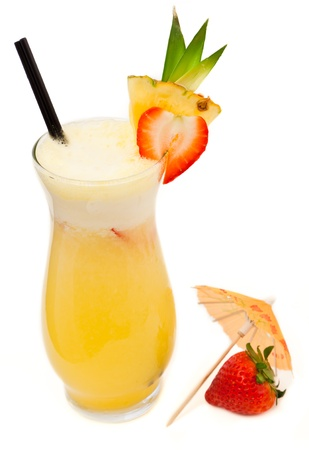 colada: fresh tropical pina colada cocktail served in a pineapple