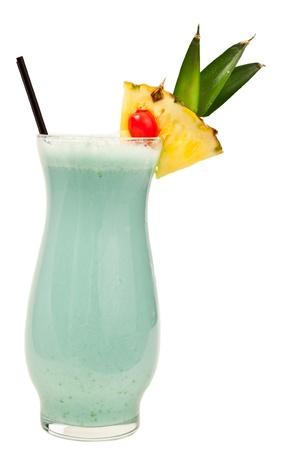tropical cocktail, blue hawaiian isolated on a white background photo