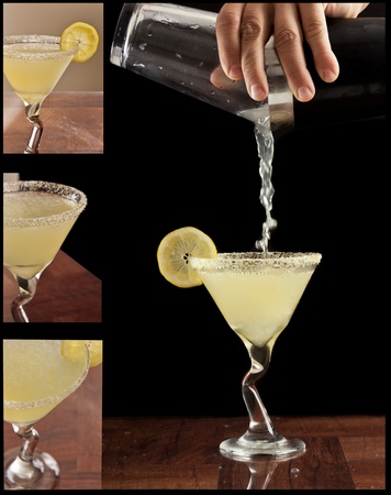 hands pouring a lemon drop martini isolated on black with different views of garnishes on the side as small pictures photo
