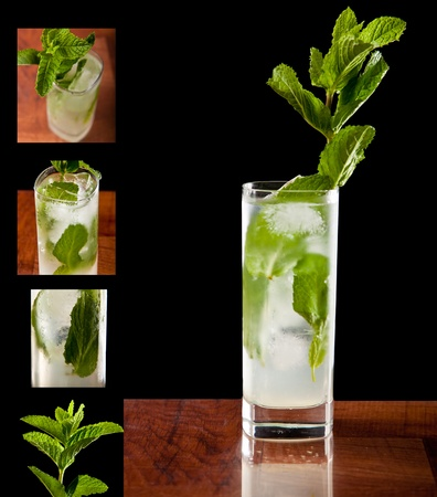 fresh mojito cocktail on a bar top garnished with beautiful fresh mint with detailed view to the side of different views Zdjęcie Seryjne