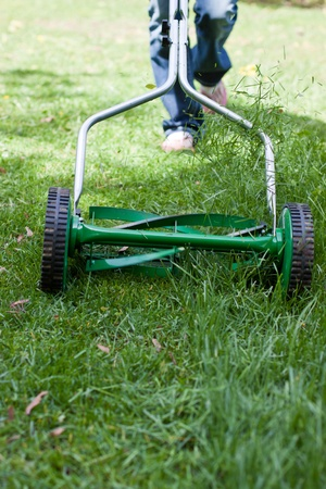 grass cutting: out of focus female shoes pushing a mower cutting grass in the back yard Stock Photo