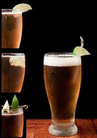 light beer isolated on a black background with a lime and different lime placing ideas Stock Photo - 13777974