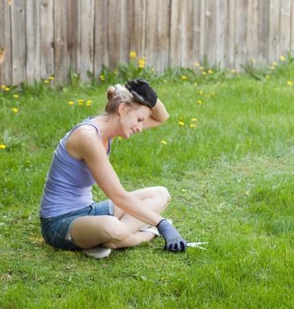 ocd: meticulous lawn mowing with scissors in  a large field Stock Photo