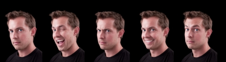 series of portrait shots with different expressions on a black background caucasian male isolated on a Stock Photo - 13991359
