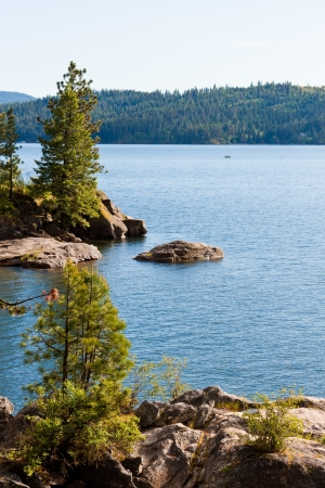 View of coeur d alene lake from tubs hill fresh summer morning Stock Photo - 14167985