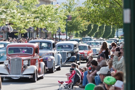 coeur: Coeur d Alene, ID - June 15, 2012 : Parade of classic cars and trucs participating in the Car d Alene car show in down town Coeur d Alene ID