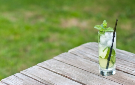 mojito served on a picnic table on a nice sunny day with green grass