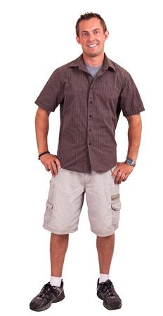 Jonge man geà ¯ soleerd op een witte achtergrond het dragen van een half pak en half casual kleding met een evenwicht casual jonge man geà ¯ soleerd op een witte achtergrond Stockfoto