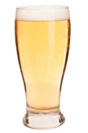 pilsner glass: light pint of beer isolated on a white background Stock Photo