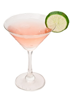 cosmopolitan cocktail isolated on a white background decorated with a lime wheel Stock Photo