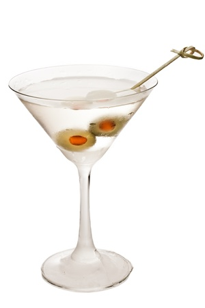 vodka martini isolated on a white background garnished with pimento stuffed olives