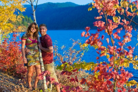 season of change and love with colors and friends in idaho Stock Photo - 15738805