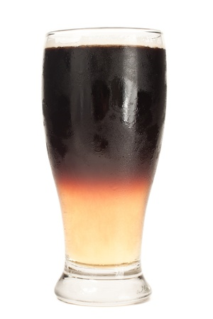 Layered beer isolated on a white background with a, ale on the bottom and stout on top