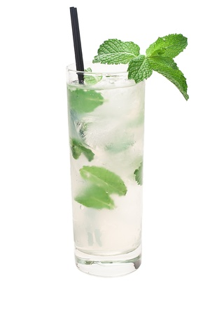 mojito cocktail isolated on a white background with fresh mint