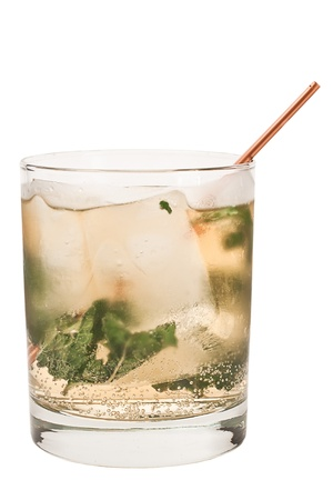 mint julep isolated on a white background with fresh mint, sugar and club soda Stock Photo