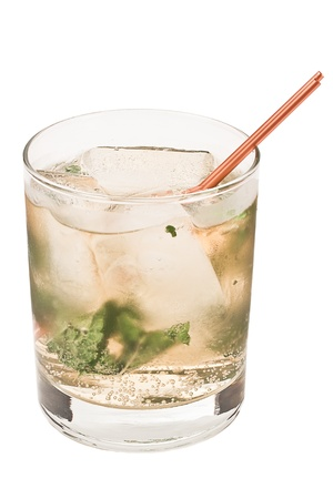 mint julep isolated on a white background with fresh mint, sugar and club soda Reklamní fotografie