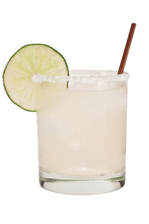 margarita on ice isolated on a white background garnished with a lime wheel