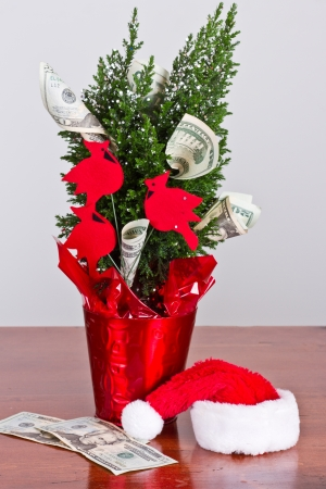 small christmas tree with 20 dollar bills growing out of it and a santa hat