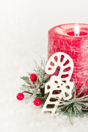 close up of holiday decorations on a white snow background Stock Photo - 16847506