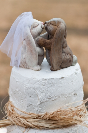 wedding cake decorated with hand carved  rabits kissing on top  kissing on top set outdoors