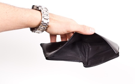 hands opening an empty wallet over white photo