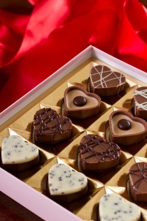 a box of chocolates for valentine's days with heart shaped bite size chocolates Stock Photo - 17445913