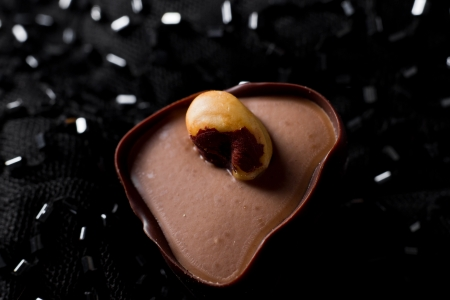hand crafted chocolate dessert cups with praline filling on a dark silk background Stock Photo - 17445866