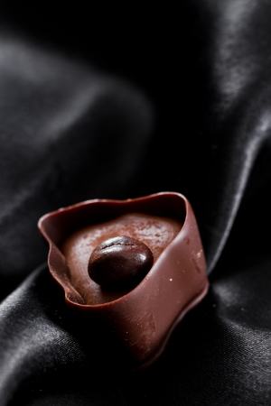 hand crafted chocolate dessert cups with praline filling on a dark silk background Stock Photo - 17439329