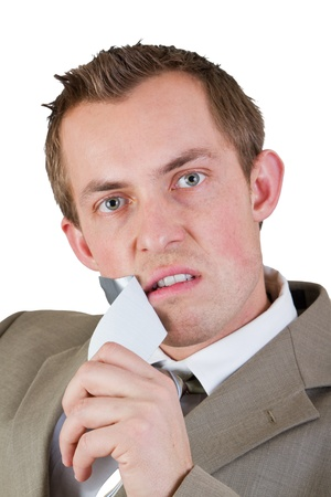 confident business man taking of duct tape from his mouth to speak loudly Stock Photo - 17567009