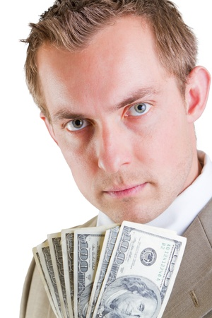 young profitable business man with hundred dollar bills in his hand Stock Photo - 17567012