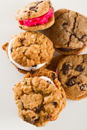 assortment of chocolate chip cookies with different fillings photo