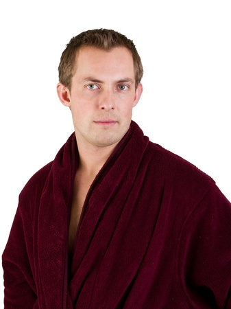 young man wearing a red robe isolated on a white background Stock Photo - 17567017