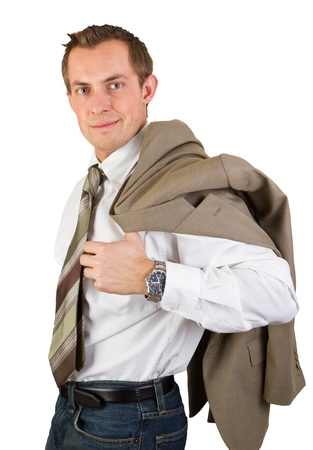 young confident business man portrait isolated on a white background photo