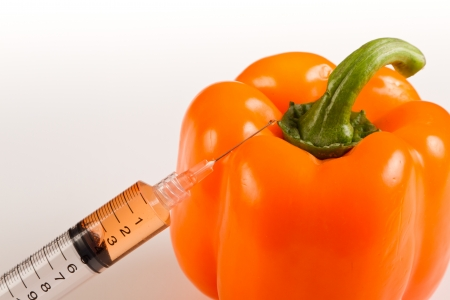 syringe with orange liquid next to a sweet pepper representing gmo, genetically modified organism or food Stock Photo