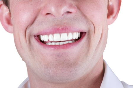 adult male smile closeup isolated on a white background