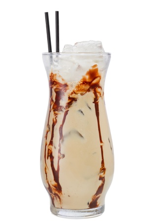 mud slide: closeup of a mud slide cocktail isolated on a white background