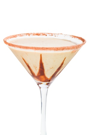chocolate martini isolated on a white background with chocolate swirl and cocoa powder on the rim photo