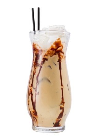 closeup of a mud slide cocktail isolated on a white background photo