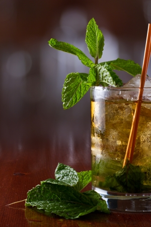 derby: close up of a mint julep served on the rocks and garnished with fresh green mint on top, kentucky derby drink
