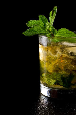 close up of a mint julep served on the rocks and garnished with fresh green mint on top, kentucky derby drink
